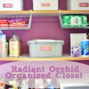 Bathroom closet makeover -organized & stylized with Radiant Orchid paint