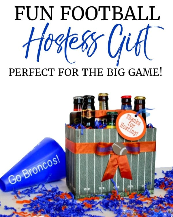 Custom football 6 pack holder hostess gift for superbowl