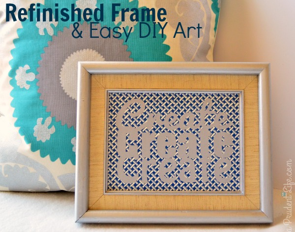 Refinished Frame & Easy DIY Art for Craft Room