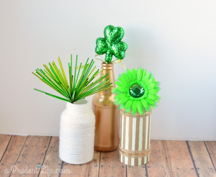 Vases transitioning from Valentine to St Patricks Day