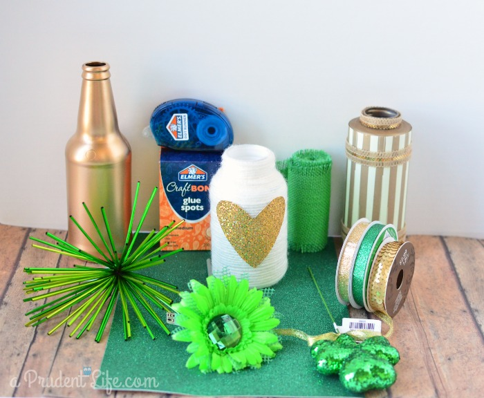 Supplies to transform vases from Valentines Day to St. Patricks Day
