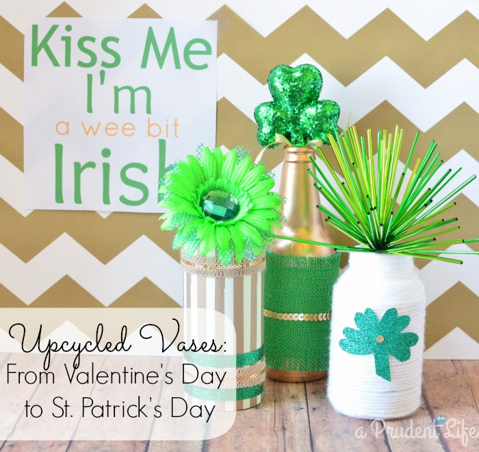 Upcycled St. Patrick's Day Vases