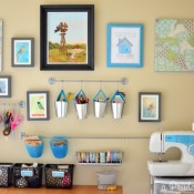 Organized craft room gallery wall