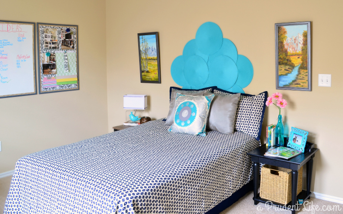 Bedroom design - navy & turquoise