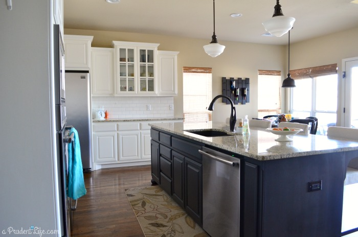 Large Black Island in White Kitchen