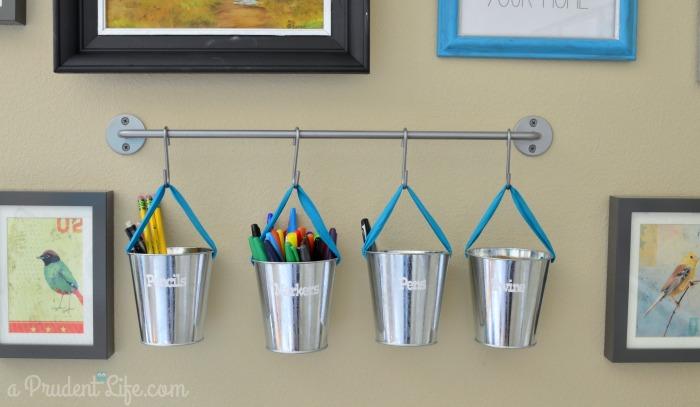Pen Pencil Marker storage in craft room & Craft Room Organization - Room Reveal Part #2 - Polished Habitat