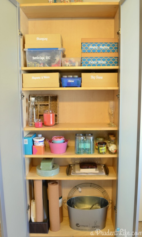 Storing craft supplies in bookshelf