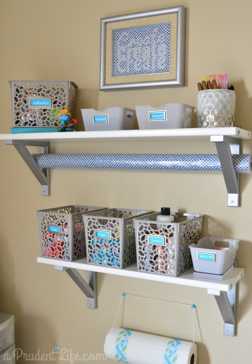 Organized Shelves in craft space