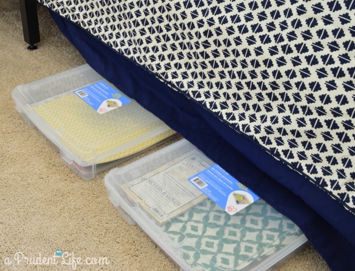 Under bed craft paper storage