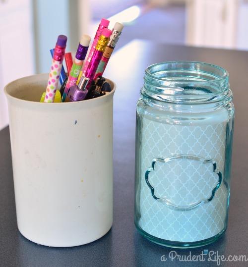 Mason Jar Pencil Cup