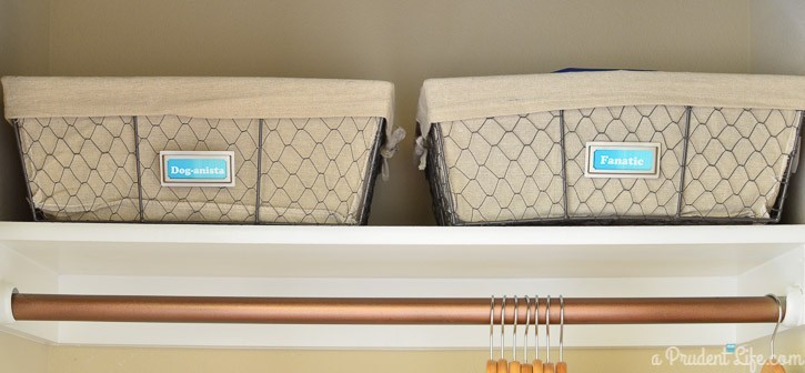 Use baskets on upper shelves to keep closets neat.