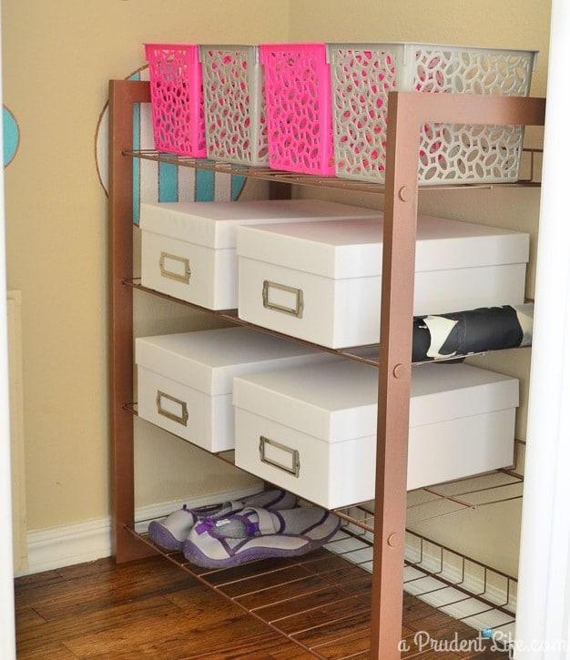 Shoe shelves are perfect for storage!