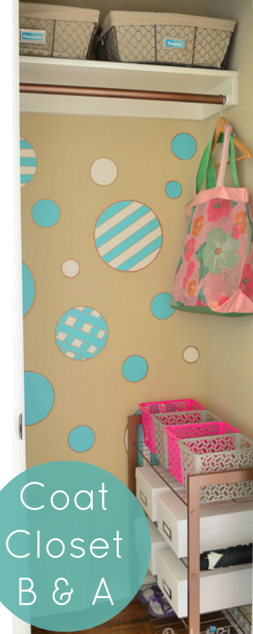 Cute coat closet - you've got to see what the circles were made from!