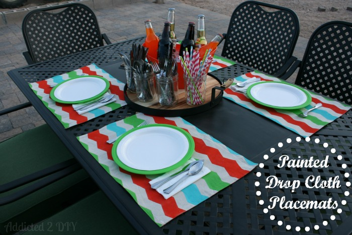 How to Make Painted Drop Cloth Placemats