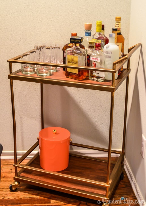 Target Bar Cart with Oh Joy Ice Bucket/Slightly Modern Dining Room