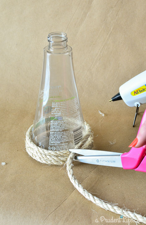 easy upcycle turn a method dish soap bottle into a nautical vase
