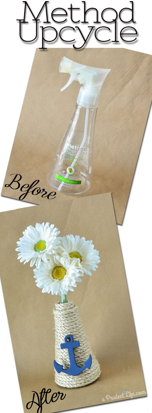 Easy Upcycle - Turn a Method Dish Soap Bottle into a Nautical Vase!