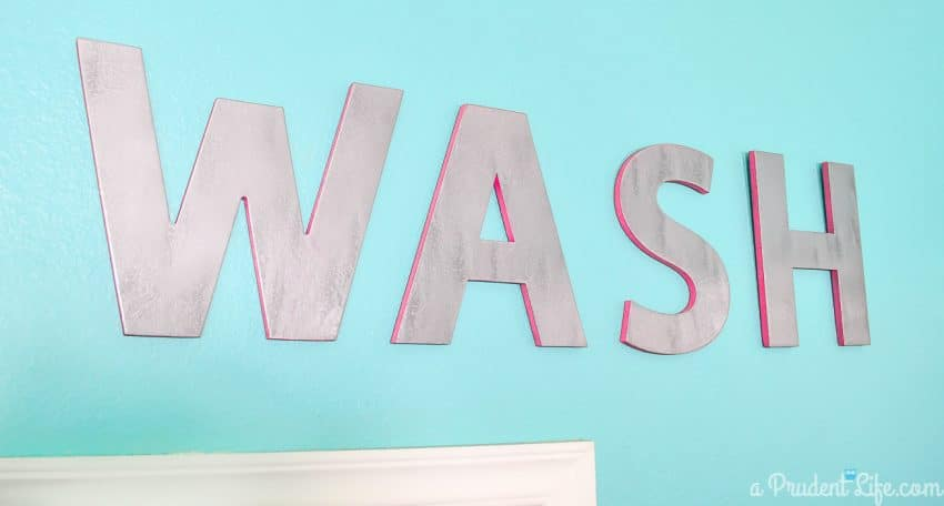Chipboard letters painted to look metallic