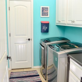 Bright & happy organized laundry room makeover - Under $100!