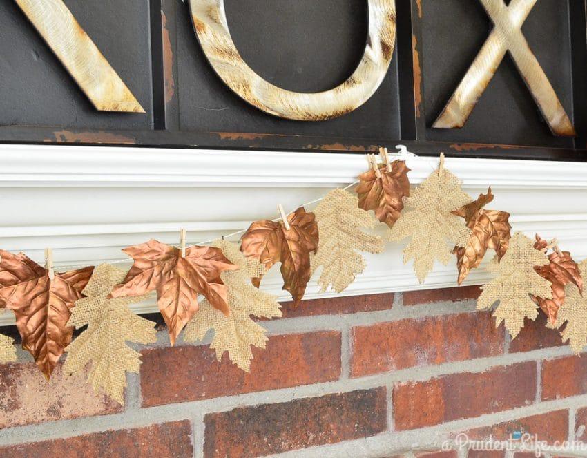 Easy fall burlap & bronze DIY garland