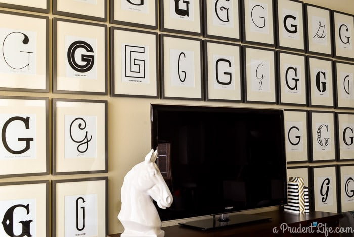 Typography Gallery Wall in IKEA Ribba Frames