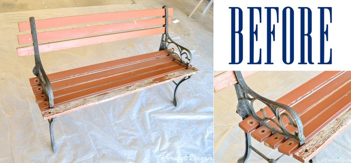 Refinishing-Furniture-Park-Bench-BEFORE