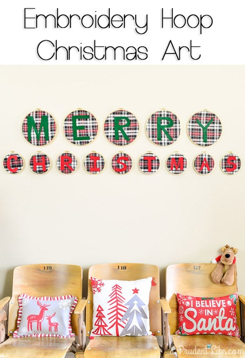 Add a rustic glam touch to your decor with this simple embroidery loop Merry Christmas art.
