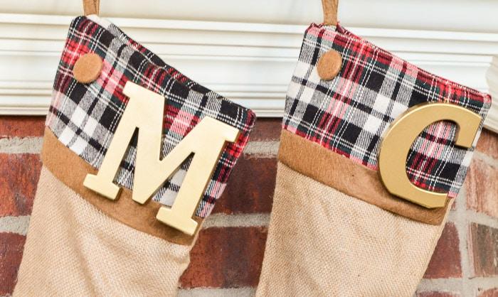 Plaid Christmas Stockings {No Sew Semi-DIY} - Polished Habitat