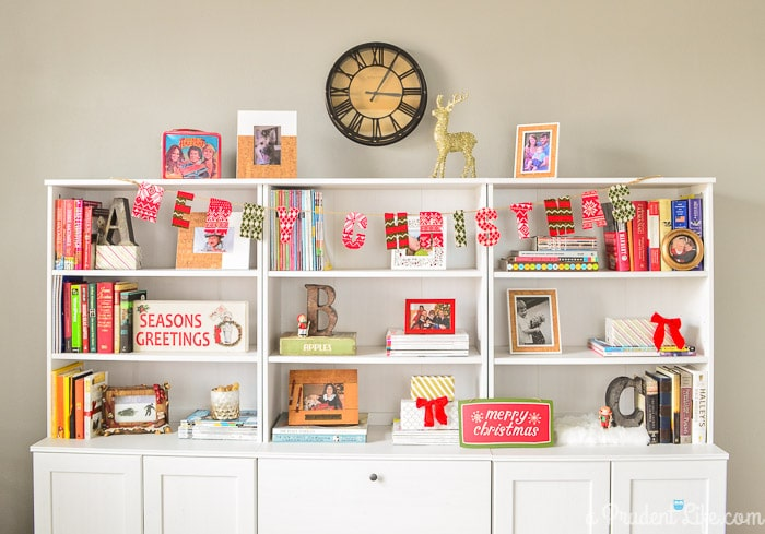 Christmas Bookcase Decor