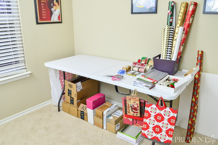 Save your dining room table with this easy wrapping station!