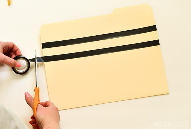 Electrical tape adds chic strips to boring file folders