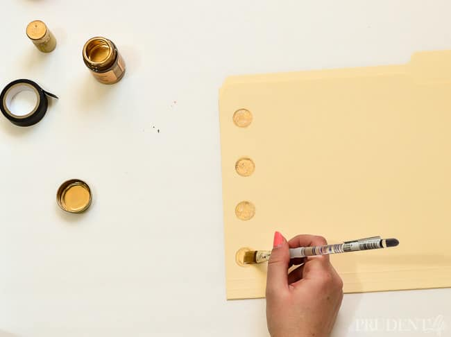 Gold dot folders are expensive - make your own with gold paint!