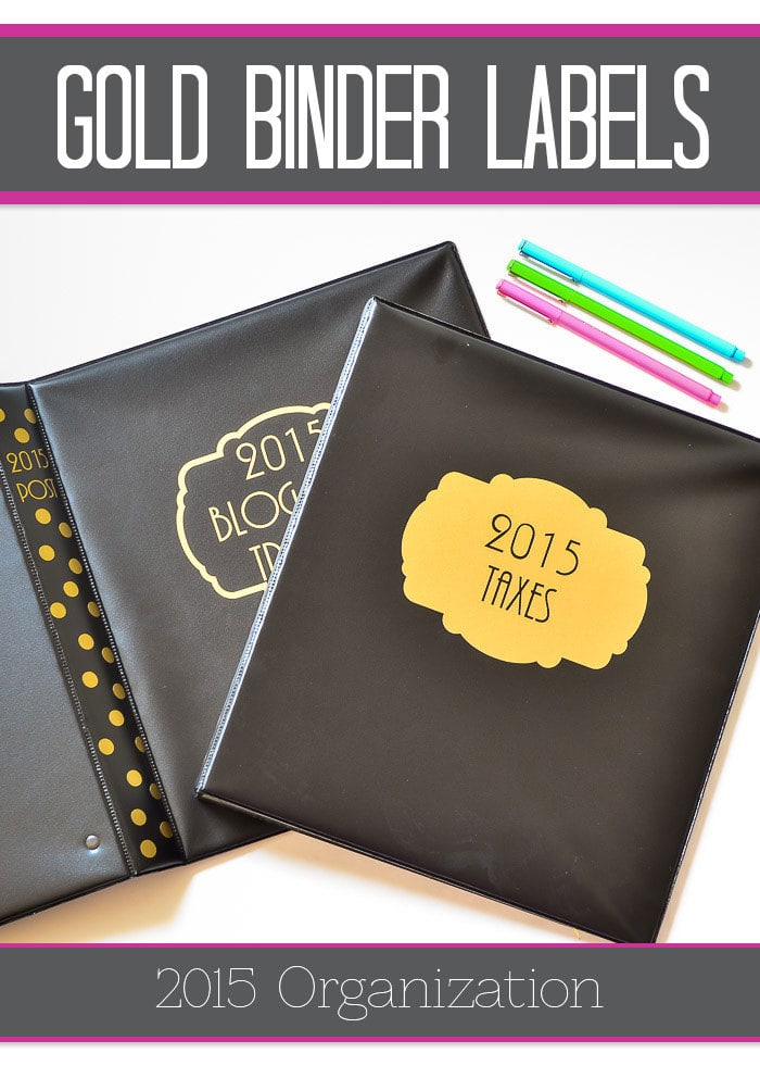 Dress up cheap binders with cute gold labels! DIY with your Silhouette or order them here.