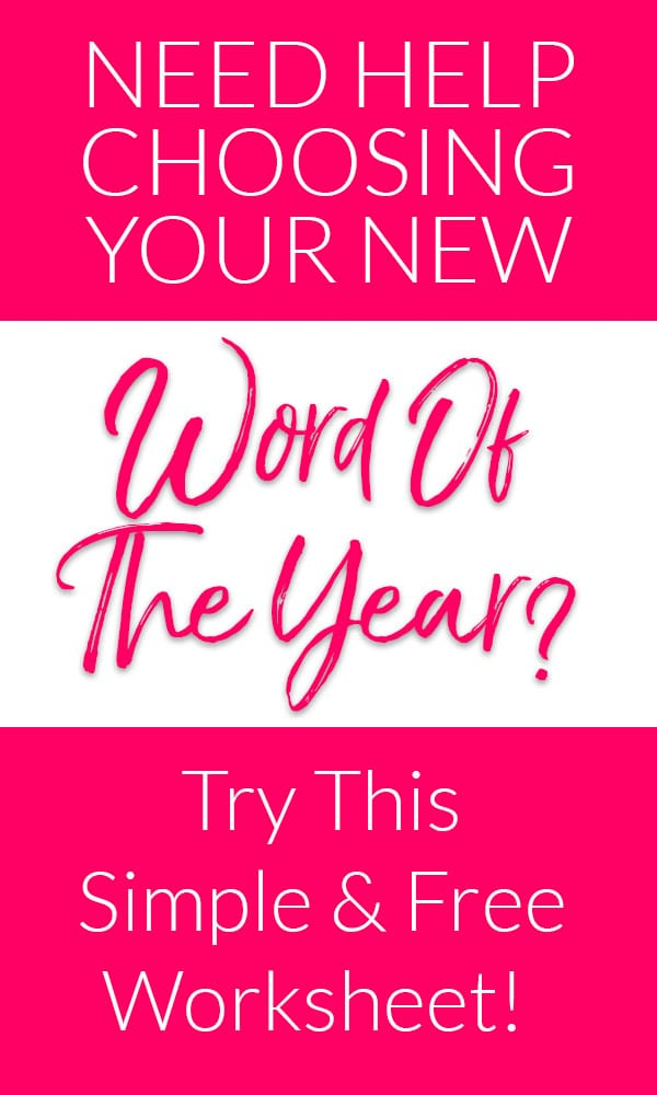 Free Workshet for Planning Word of the Year (one word)