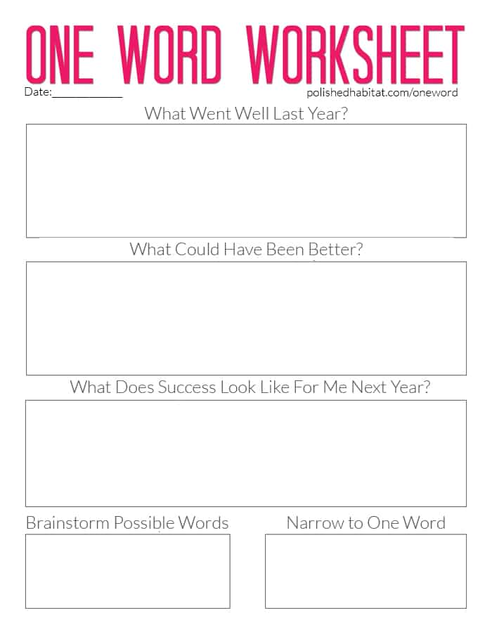 Planning wordsheet for word of the year