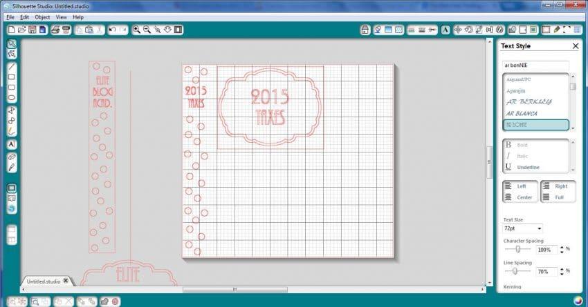 Designing binder labels in Silhouette Studio
