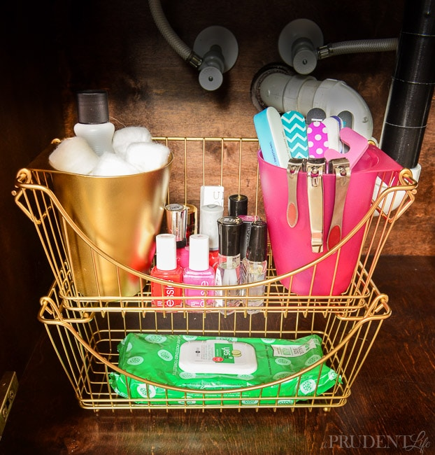 Genius - Organize your nail products in a basket you can carry around.