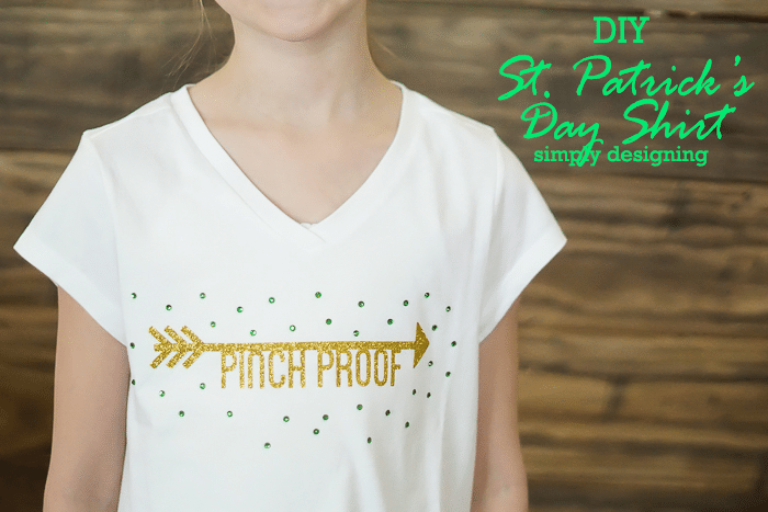 DIY St Patricks Day Shirt with Glitter Vinyl and Rhinestones