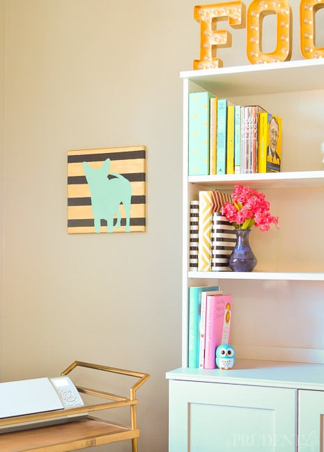 Cute styling for my bookcase - love the DIY dog art!