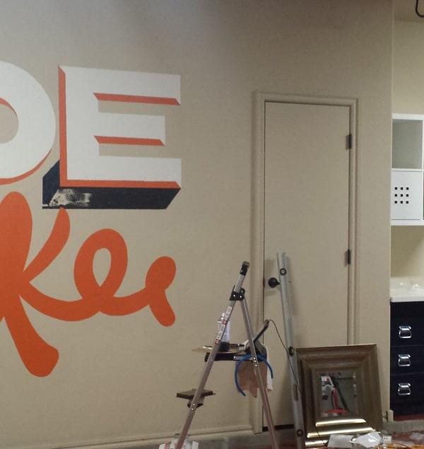 Hand Lettered Mural - Make your garage an inspiration room.