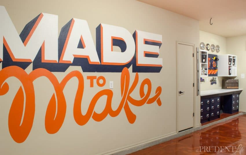 Hand lettering isn't just for paper - this large scale garage mural is perfect for makers!