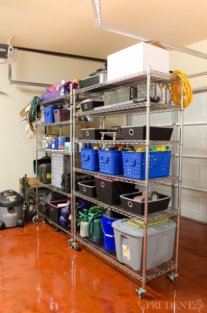 These metal rolling shelving units were worth every penny of their $99 price tag. They add tons of storage to our garage, but are also mobile if we ever need to reconfigure the space.