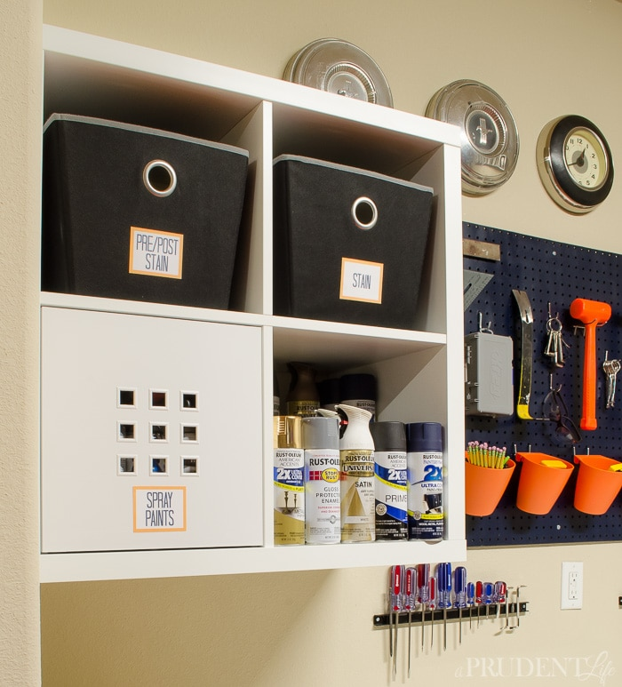 IKEA KALLAX shelving units provide tons of garage storage for $35.