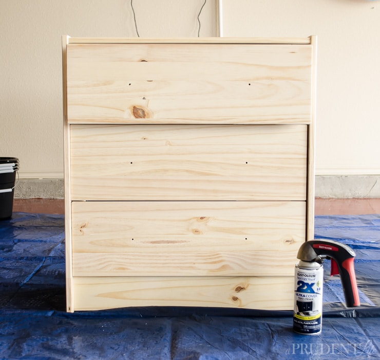 IKEA RAST Dresser in Raw wood, about to be painted.