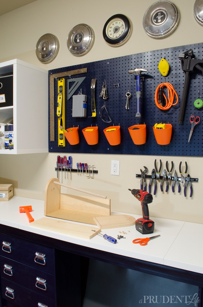 Garage Storage Area & Workbench From IKEA Pieces - Pegboard with Tools