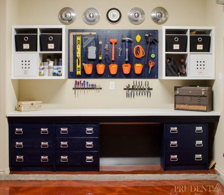 Garage Workbench DIY {How We Ikea Hacked Garage Storage}