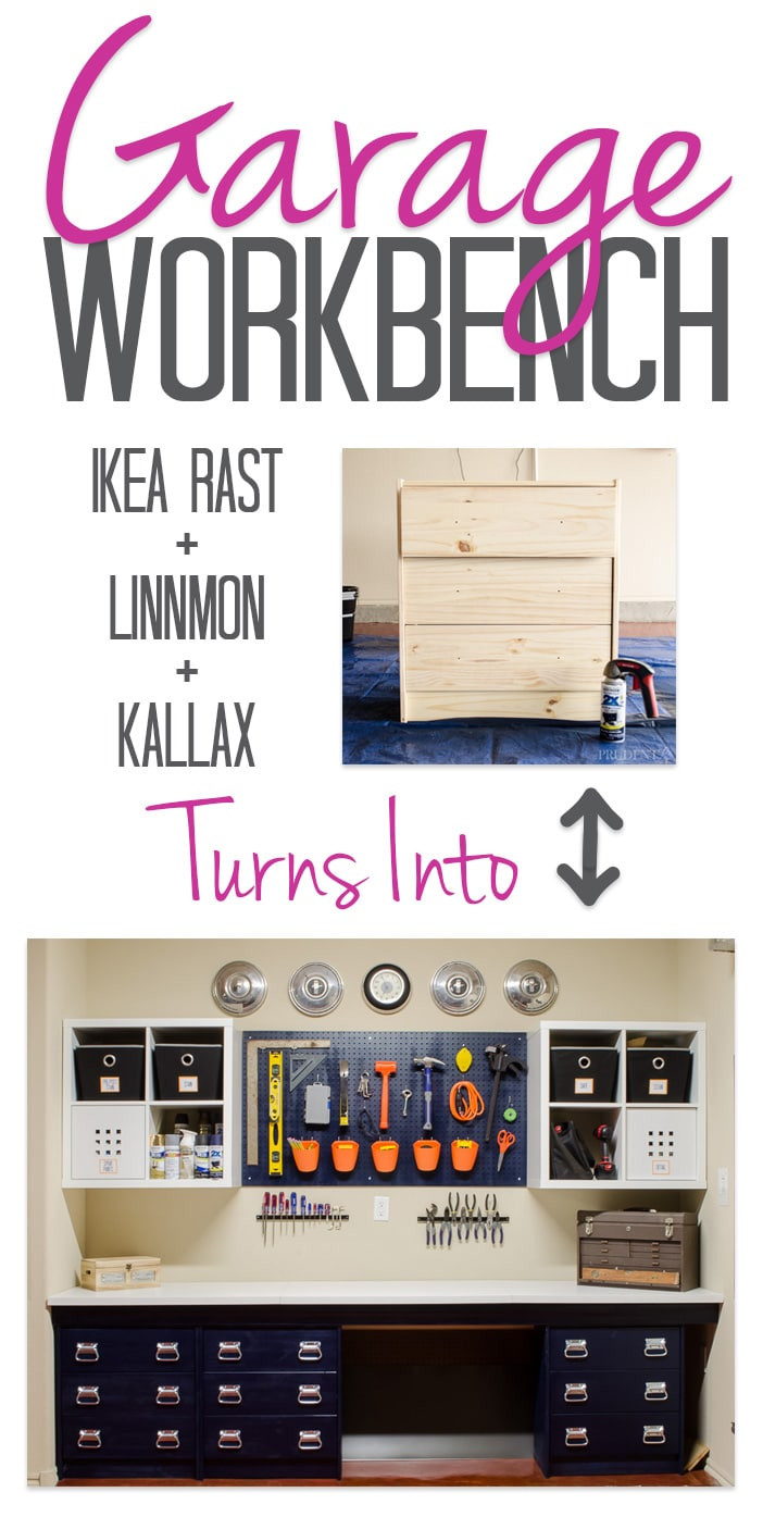 IKEA Work Bench Hack - Create garage storage drawers, counter, and wall storage on a budget.
