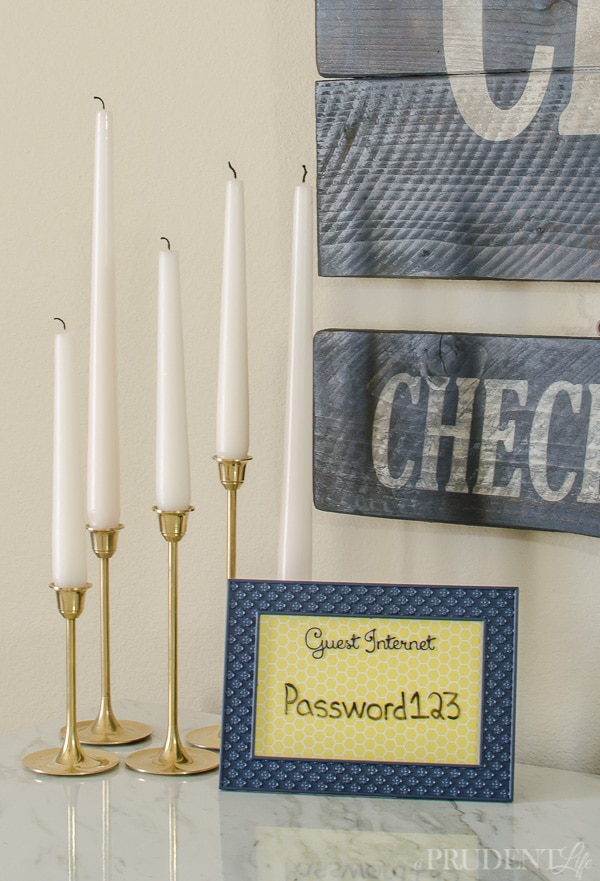 Guest Room Essentials: Don't forget to provide the wifi password. Using a dry erase marker makes it easy to update as needed. Click to see the rest of my guest room essentials!