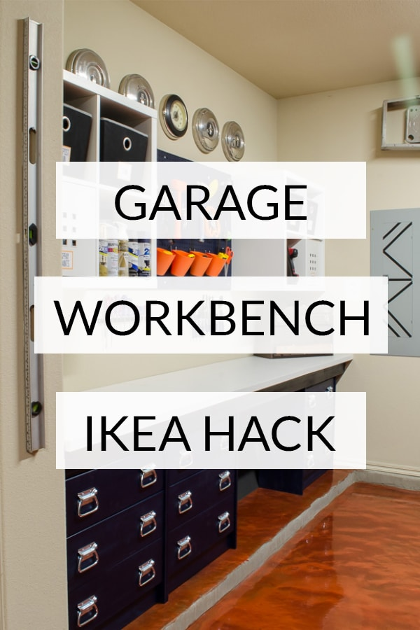 Garage workbench ikea hack (text over image of built in workbench)