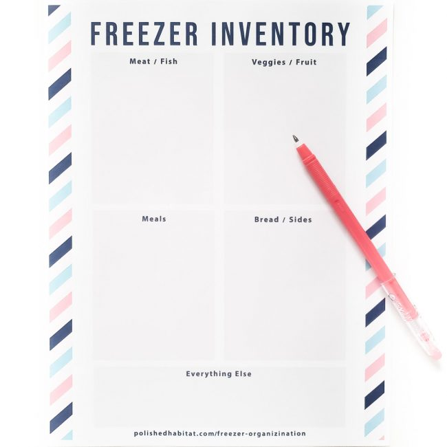 Freezer Inventory Printable with sections for meat, veggies, meals, and bread/sides
